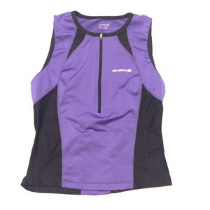 SUGOi Cycling Zippered Tank Top in Purple